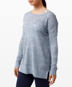 Well Being Crew Sweater Linen_heathered sail boat