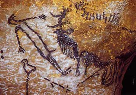 Représentation sommaire, L'homme blessé, Grotte de Chauvet