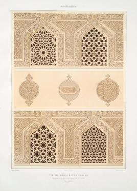 Prisse d'Avennes - L'art arabe 3 - Tekieh Cheikh Haçen Sadaka, fragments de la décoration du dôme (XIVe. siècle) (1877)