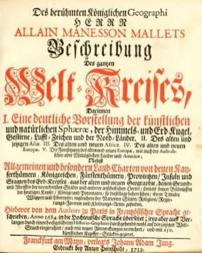 Allain Manesson Mallets Beschreibung des gantzen Welt-Kreises 1