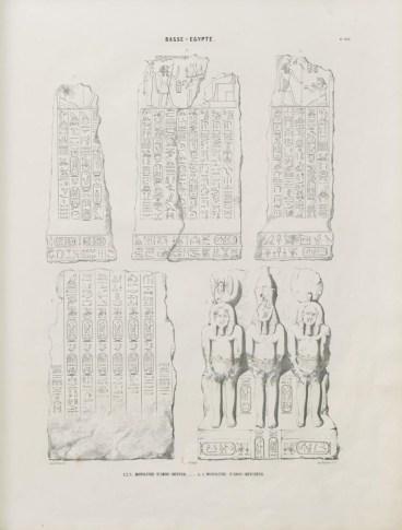 1 - Monuments égyptiens, bas-reliefs, peintures, inscriptions, etc., d'après les dessins exécutés sur les lieux par E. Prisse d'Avennes, pour faire suite aux Monuments de l'Egypte et de la Nubie, de Champollion le Jeune