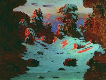Arkhip Ivanovich Kuindzhi - Coucher de soleil sur la neige - 1885-1890