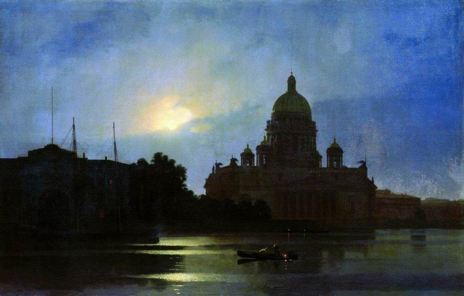 Arkhip Ivanovich Kuindzhi - Vue de la cathédrale Saint-Isaac au clair de lune - 1869