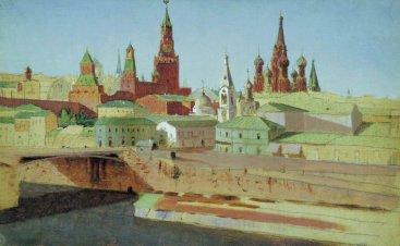 Arkhip Ivanovich Kuindzhi - Vue du pont de Moskvoretsky, le Kremlin et la cathédrale Pokrovsky (Saint-Basile) - 1882