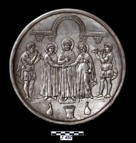 Plat provenant du trésor de Lamboussa-Lapithos, Le mariage de David, 628-630. Chypre, Nicosie, Musée archéologique.