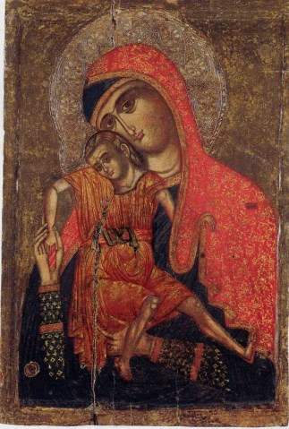Vierge à l'enfant Kykkotissa. Icône, XIVe siècle. Chypre, Musée du monastère de Saint- Jean Lampadistis à Kalopanayiotis © Evéché de Marfou