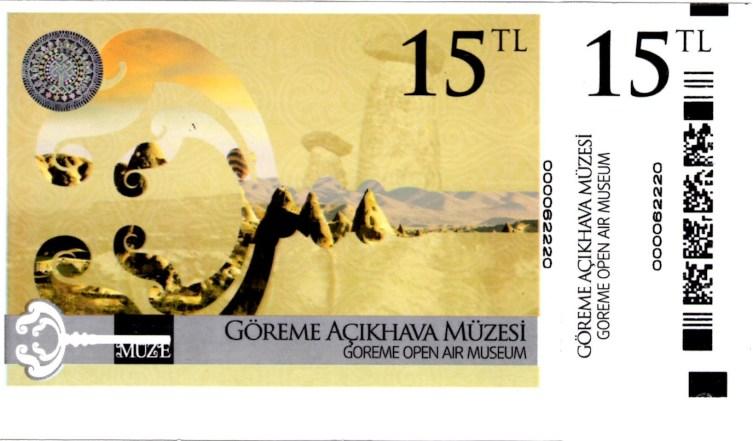 Ticket d'entrée du Musée en plein air de Göreme