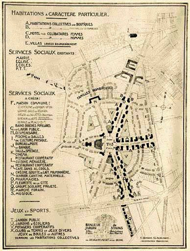 Plan de la cité-jardin de Stains