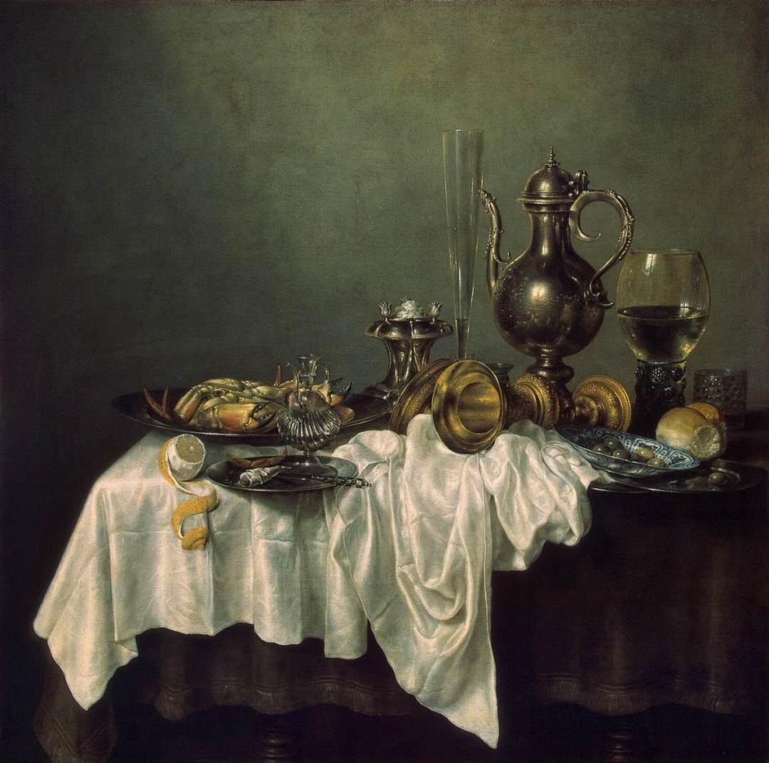Willem Claeszoon Heda - Petite nature morte d'apparat au crabe - 1648 - 118x118 - Musée de l'Ermitage - Saint-Petersbourg