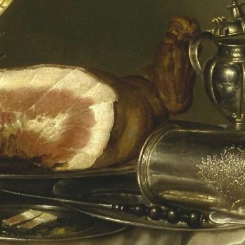 Willem Claeszoon Heda - Festin de jambon (détail jambon et argenterie) - 1656 - 152x111cm - The Museum of Fine Arts - Houston
