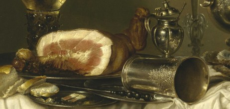 Willem Claeszoon Heda - Festin de jambon (détail jambon et argenterie) - 1656 - 152x111cm - The Museum of Fine Arts - Houston