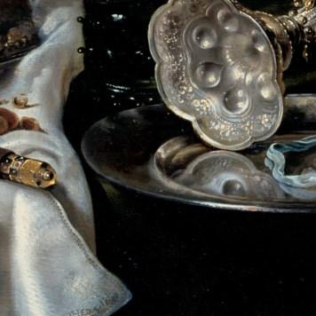 Willem Claeszoon Heda - Nature morte à la tourte aux mûres (détail canne et horloge) - 1631 - 54x82cm - Gemäldegalerie Alte Meister - Dresde