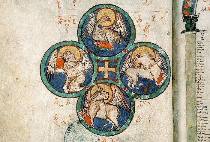 Tétramorphe de l'évangéliaire d'Avignon - XIè siècle