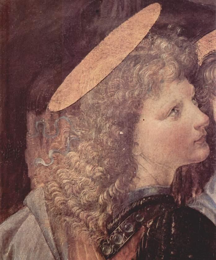 Andrea del Verrocchio et Leonardo da Vinci - Le baptême du Christ (détail de l'ange) - 1472-75 - 177 × 151 cm - Galerie des Offices - Florence