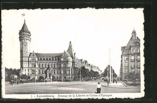 Luxembourg - Avenue de la liberté et Caisse d'Epargne