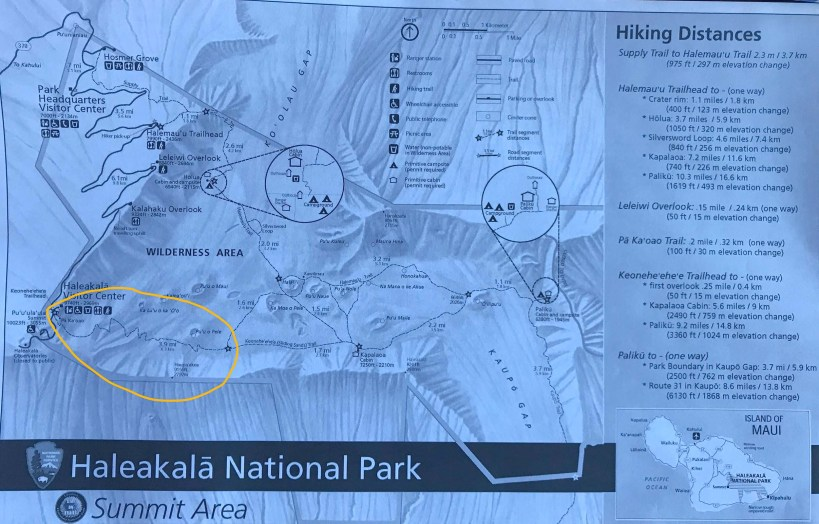 Haleakalā Trail Map showing the Sliding Sands Trail in Maui, Hawaii