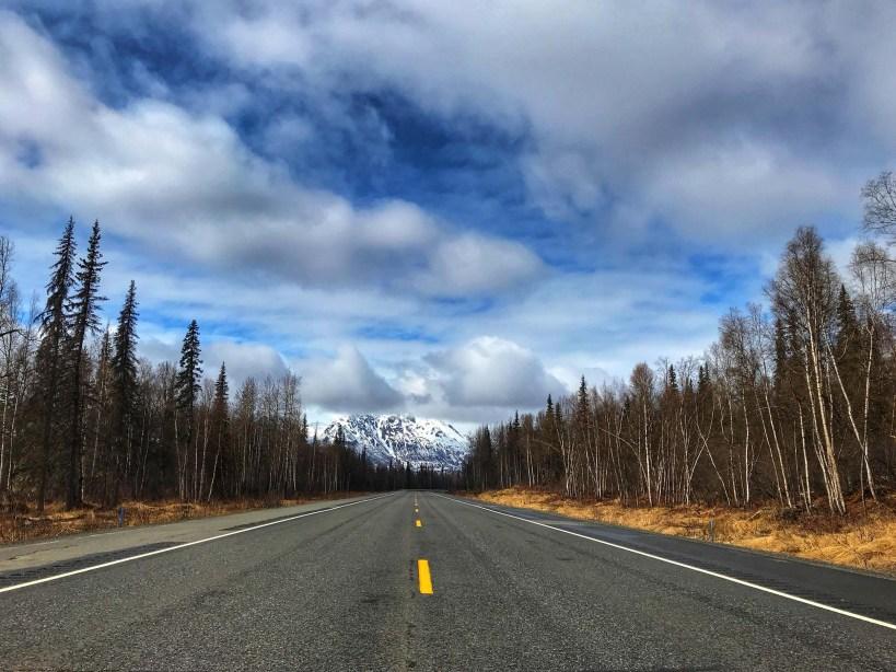 A glimpse of Mt. McKinley (aka Denali) somewhere near Talkeetna, Alaska