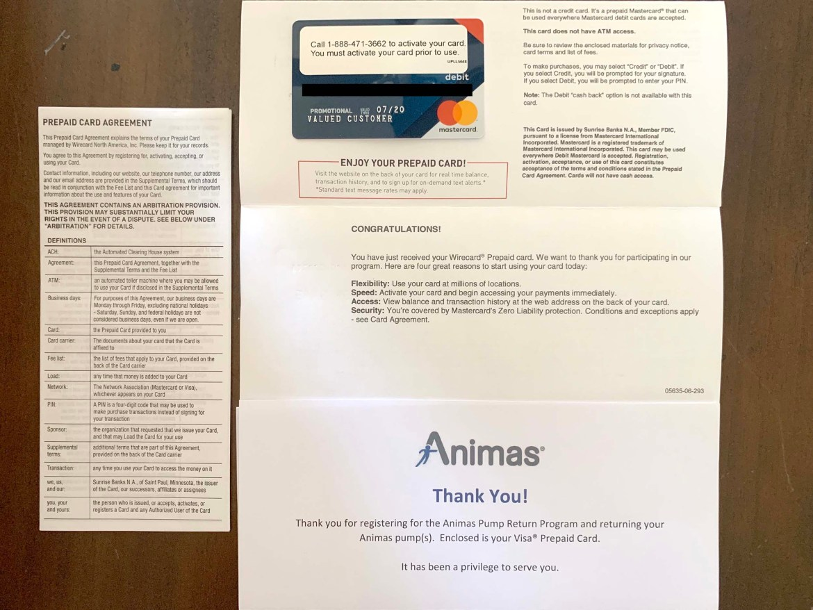 Animas pump return Mastercard