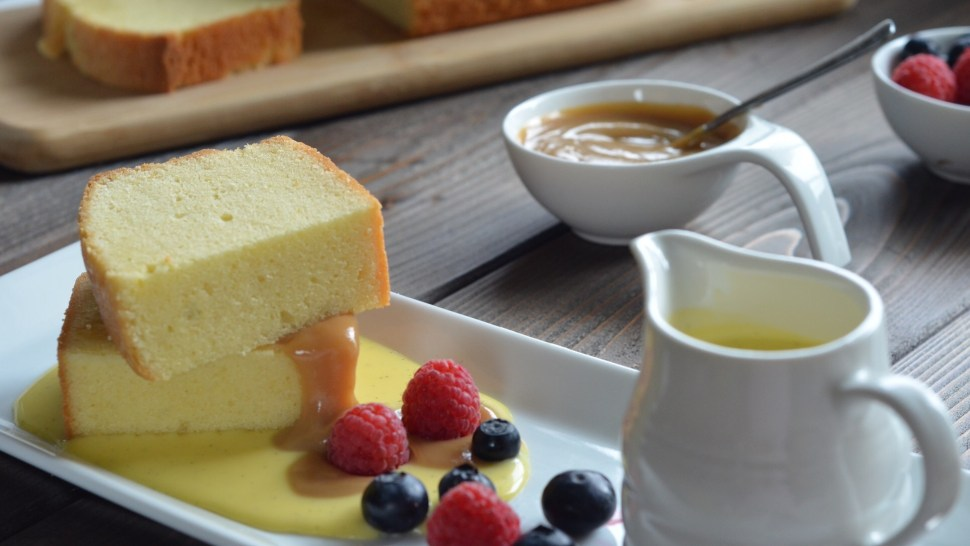 pound cake, creme anglaise, dulce de leche, berries