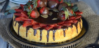 chocolate covered strawberry on french cheesecake. very light.