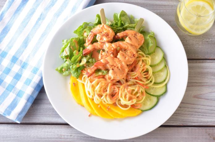 Zoodle and Shrimp Salad with Tahini Sriracha