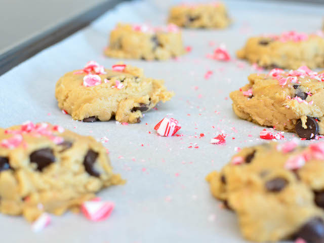 Chocolate chip cookies with crushed candy cane