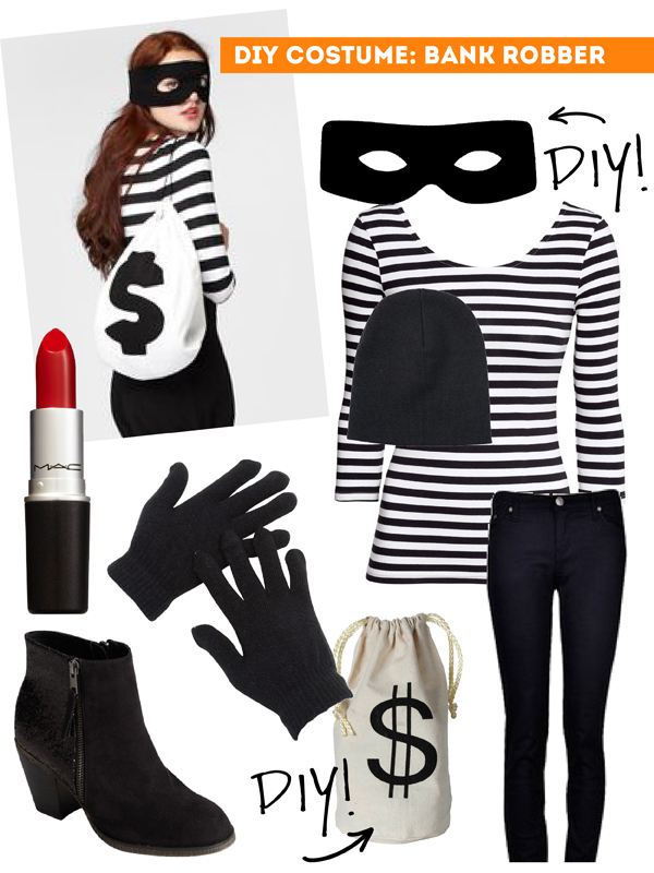 DIY Thift Shop Halloween Costumes - female bank robber / The Sweet Escape