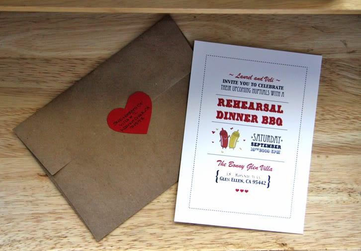 Kraft Paper Wedding Rehearsal Dinner Invitations
