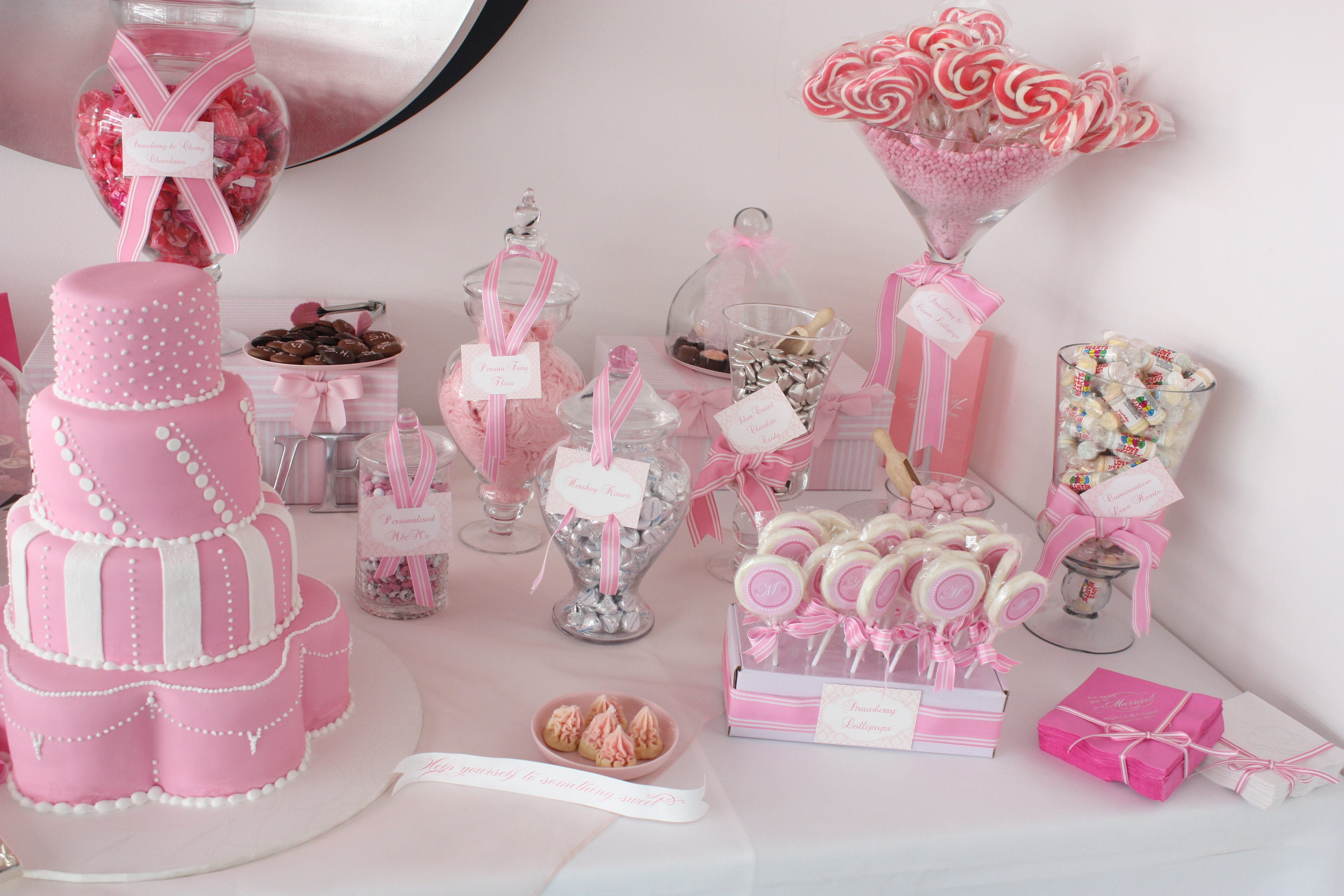 Sugarcoated Pink And White Candy Buffet
