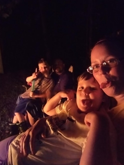 Family photo by the fire