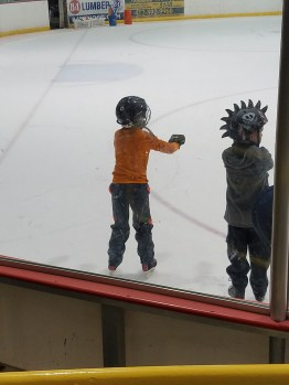 Practicing his balance on the ice