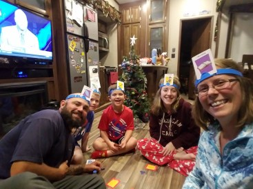 Playing Headbanz as we prepare for the new year
