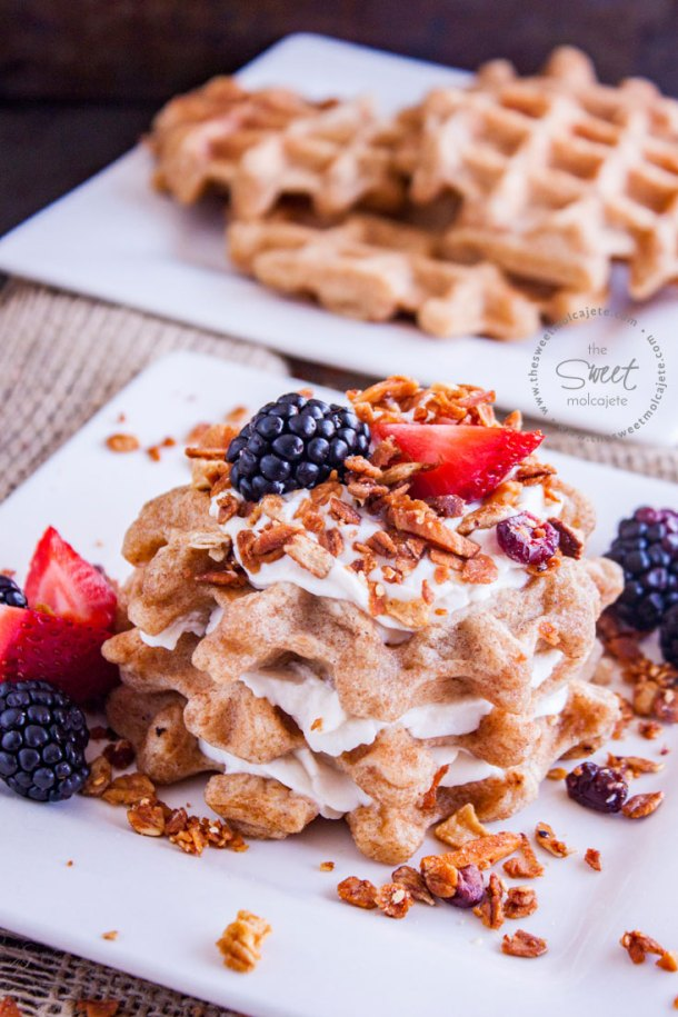 Plato con Waffles Integrales Saludables servidos con Yogurt, granola casera y frutos rojos