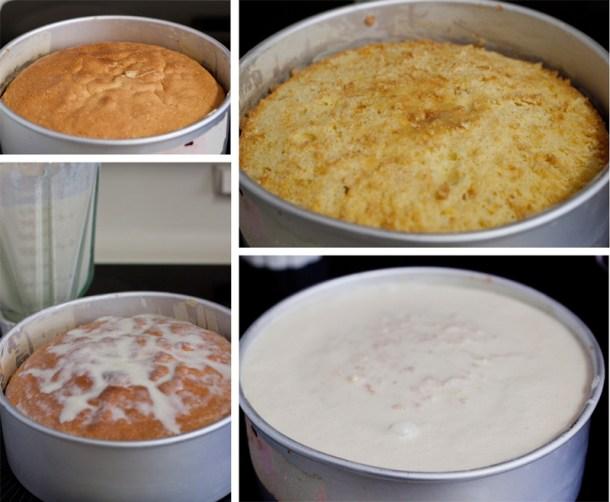 Collage de 4 fotos que muestran cómo poner las tres leches a un Pastel de Tres Leches de Coco