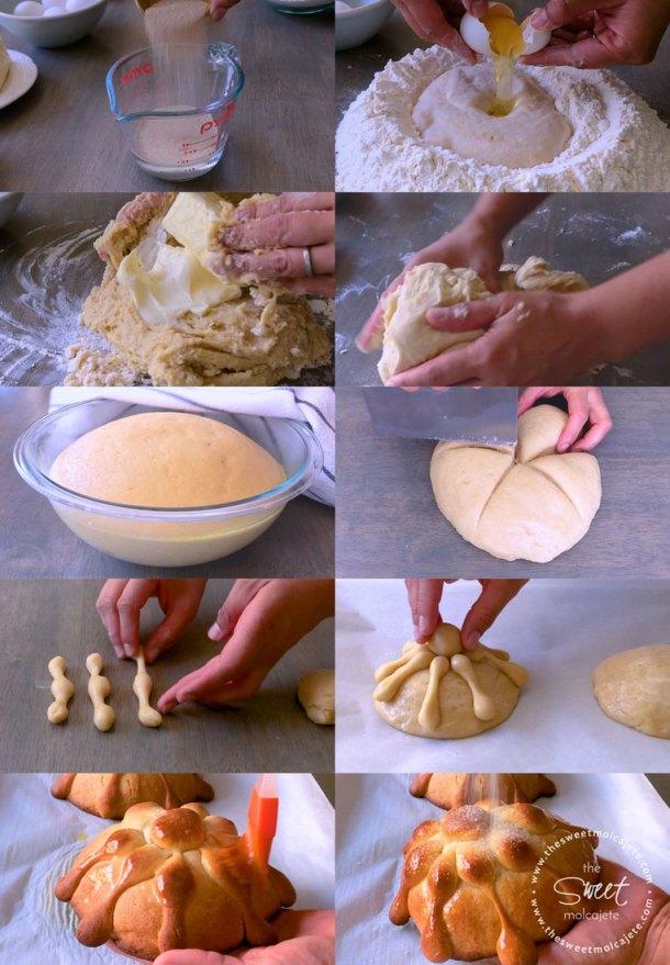 Fotos de proceso paso a paso para hacer pan de muerto casero