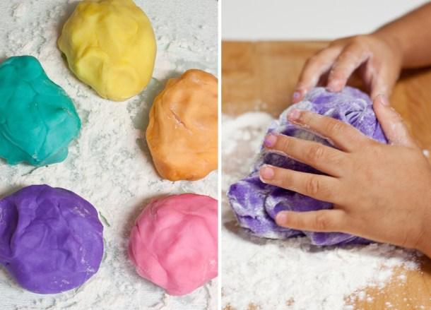 Imagen de cómo amasar la plastilina playdoh casera