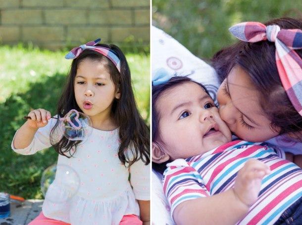 Imagen de niña haciendo burbujas de jabón y otra imagen de la misma niña dando un beso a una bebé