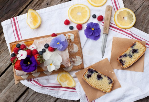 Blueberry Lemon Poundcake with Edible Flowers
