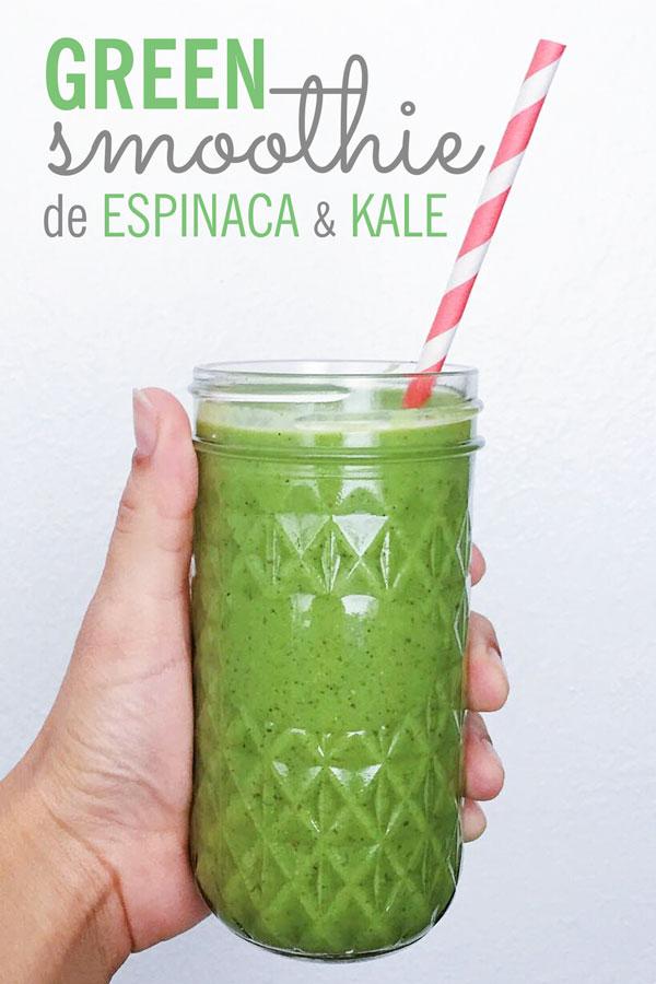 smoothie verde de espinaca y kale