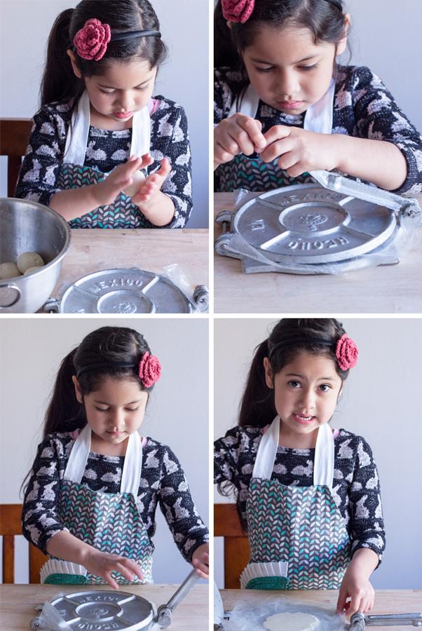 collage de 4 fotos de niña haciendo una tortilla de maíz para sopes paso a paso