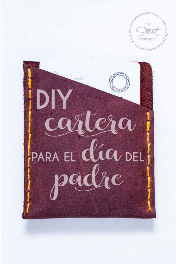 Cartera de Piel hecha a mano con leyenda que dice DIY cartera para el día del Padre