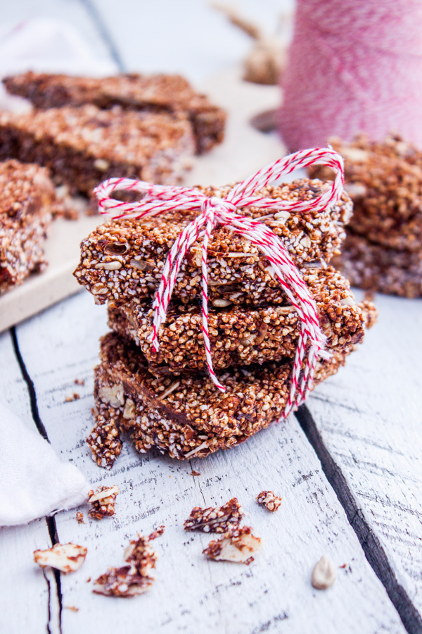 Regalos comestibles para Navidad - Receta para hacer Alegrías de Amaranto y Chocolate