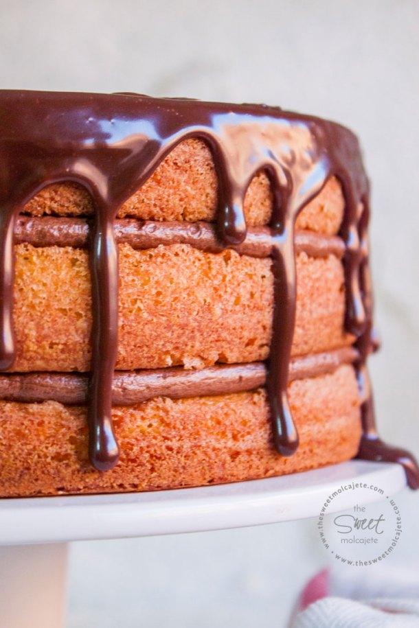 Acercamiento de un Pastel de 3 capas relleno con un cremoso betún de chocolate y cubierto con ganache de chocolate que escurre por las orillas.