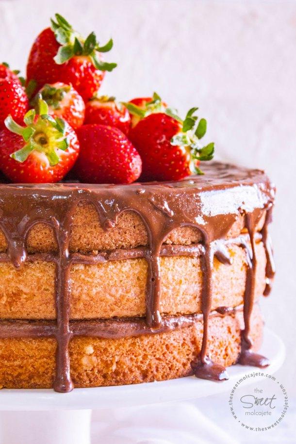 Acercamiento al pastel de mantequilla. El pastel está hecho en 3 capas, relleno de un cremoso buttercream de chocolate y con una cubierta de ganache de chocolate con fresas enteras en la superficie.