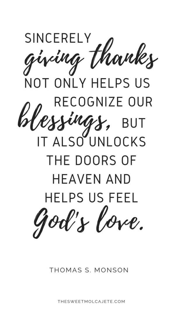 cita de Thomas S Monson acerca de la gratitud