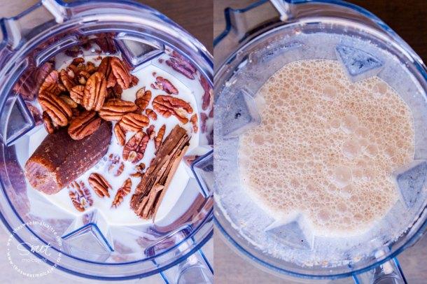 Vista de antes y después de los ingredientes para hacer Atole de nuez dentro del vaso de la licuadora Vitamix