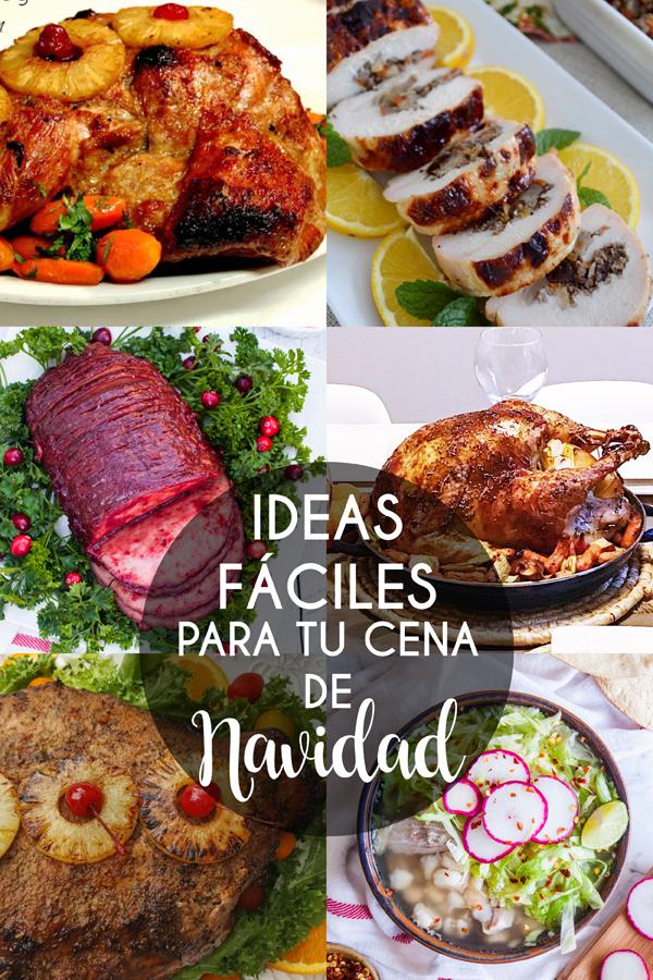 collage de fotos de recetas faciles para tu cena de navidad (pavo, jamon, pierna, pechuga, pozole)