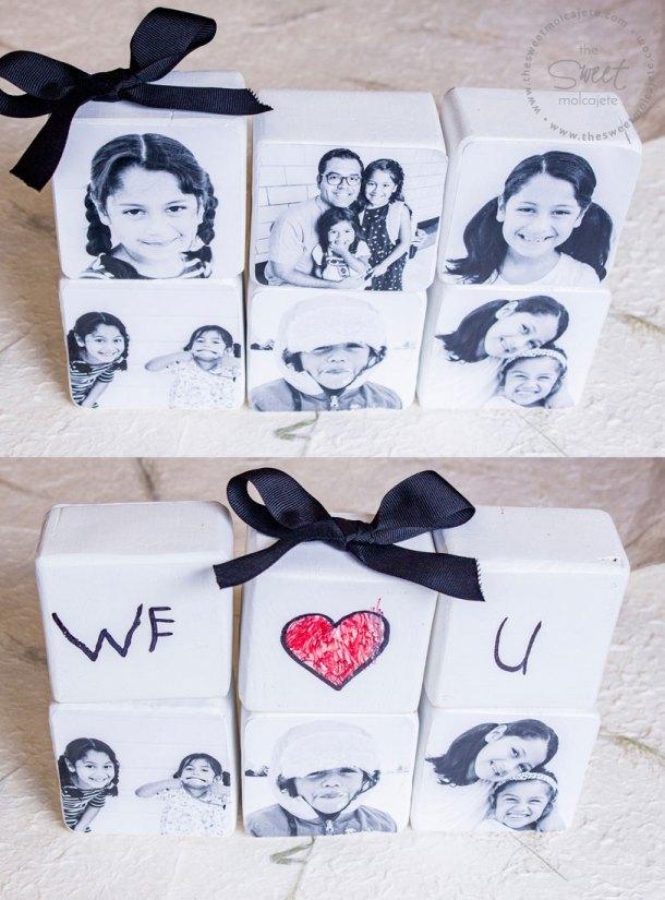 Collade de dos fotos que muestran bloques de maderas con fotos y en otra que dicen we love u para regalo de dia del padre