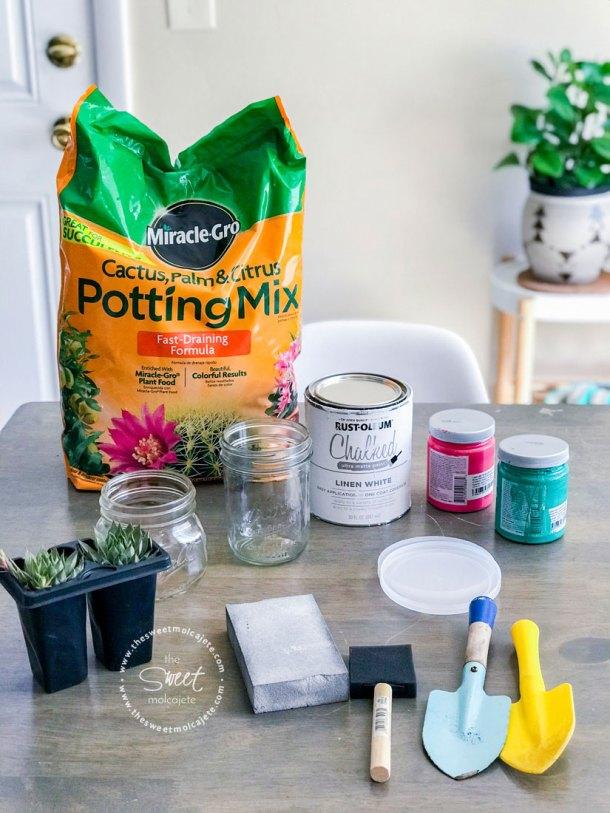 materiales para plantar suculentas en frascos de vidrio tipo mason jar
