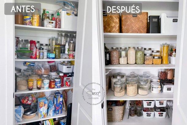fotos de antes y despues de una despensa ordenada y bien organizada